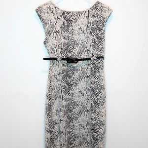 Calvin Klein Snake Print Dress w/belt Sleeveless